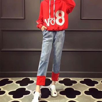"""""""Moschino"""" Women Casual Fashion Numeral Letter Print Long Sleeve Hooded Sweater Multicolor Jeans Trousers Set Two-Piece"""