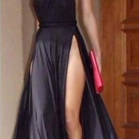 One Shoulder Strap Wrapped Open Back Gown Dress Backless Sexy Maxi Prom Slit Party Homecoming
