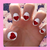 Valentine's Day // Rose Heart // Valentine // Holidays // February // Chocolate Nail Decals Transfer Nail Stickers //