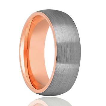 Domed Silver Brushed Tungsten Wedding Band With Rose Gold Inside for Men