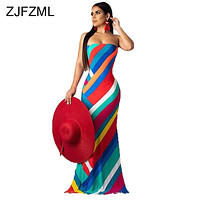 Colorful Striped Print Summer Dress Women Lace Up Backless Off Shoulder Beach Dress Vintage Strapless Maxi Bohemian Dress
