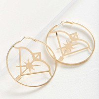 Etched Zodiac Statement Hoop Earring | Urban Outfitters