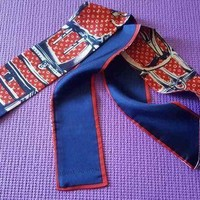 Louis Vuitton Bandeau Silk Scarf Blue & Red Pre Owned