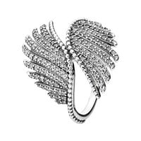Women's PANDORA 'Majestic Feathers' Ring - Silver/ Clear