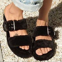 UGG new fashion double pole plush slippers sandals plush slippers Shoes Boots