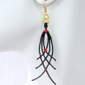 BLACK FRIDAY SALE Black and Red Dangle Earrings - Soft Jewelry  - Statement Earrings - Black Earrings