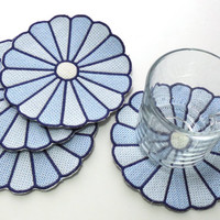Blue Dresden Plate, Embroidered, Coasters, Trivets, Mug Mats