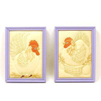 vintage rooster wall art, framed art, fabric art, hen, lilac, upcycled frame, rustic decor, kitchen art, wall decor, kitsch, retro