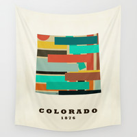 colorado state map modern Wall Tapestry by Bri.buckley