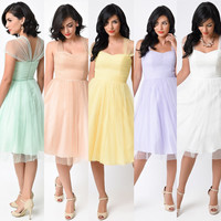 Retro Vintage Cocktail Dress with sheer cap sleeves in pastel colors Unique Bridesmaid Dress XS - 4X