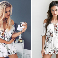 2017 Summer Floral Printed Off The Shoulder Romper Jumpsuit [10322610383]