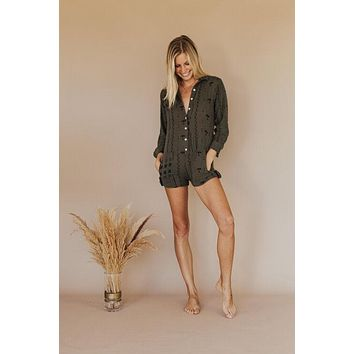 Sweet Paradise Club - Roselyn Romper   Military Mudcloth