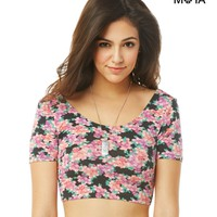 Aeropostale  Womens Floral Scoop-Back Crop Top