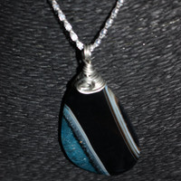 Sterling Silver Wire-Wrapped  (Blue, Black Onyx) Agate Stone Pendant Necklace