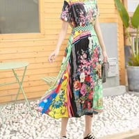 Woman's Leisure Fashion Letter Personality Printing Spell Color Short Sleeve Elastic Band Long  Skirt Two-Piece Set Casual Wear