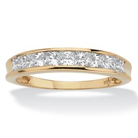 .81 TCW Princess-Cut Cubic Zirconia 18k Gold over Sterling Silver Anniversary Ring