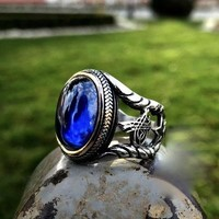 Blue garnet gemstone with calligraphy 925k sterling silver ring