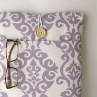 """New 12 inch MacBook Case, 11 . 6 """" Mac Book Air Sleeve, Padded Tablet Gadget Cover, Pocket, Womens Laptop Bag Sac Lavender Purple Ikat Lilac"""