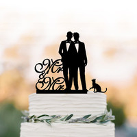 Mr and Mr Wedding Cake topper, Gay cake topper with cat, silhouette wedding cake decoration, same sex funny wedding cake toppers