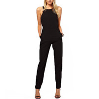 Black Back Zipper Hollow Sleeveless Long Playsuits Rompers s Jumpsuit