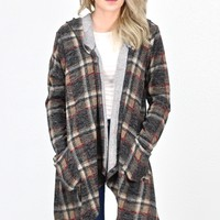 Waterfall Front, Plaid Hooded Knit Cardigan {Taupe Mix}