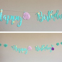 "Kuchang 1 set Birthday Party Decoration Glitter ""Happy Birthday""  Mermaid Party Garland Banner Baby Shower Summer Party Supplies"