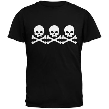 3 Skull And Crossbones Black Youth T-Shirt