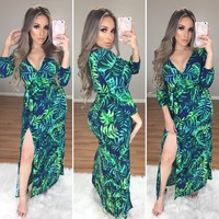 Mikonos Floral Maxi Dress (Green/Navy)
