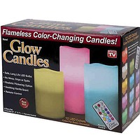 Glow Candles Flameless Color Changing Pillars (Set of 3)   As Seen On TV   Made from Real Wax