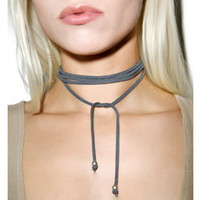 Grey Faux Suede Cord Wrap Tie Choker Necklace with Silver Small Charm