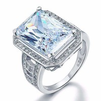 ON SALE - Romantic Fire 8.5CT Emerald Cut Halo Ring