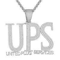 Sterling Silver UPS United Plug Services Hip Hop Icy Pendant