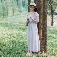 2018 Japanese Women's Off-Shoulder Long Chiffon Dress Mori Girl Cute Vintage Elegant Casual Maxi Dress Hollow Ruffles Boho Dress