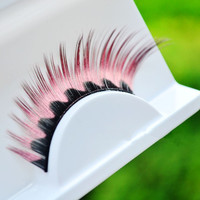 1 Pair Pink Rose Red Colorful Halloween Costume Party Supplies Color Feather False Fake Eyelash Eye Lashes Party Eye Makeup