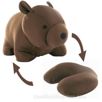 Bear Zip & Flip Travel Pillow