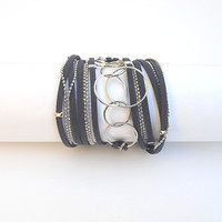 Dark blue suede and nickel chains. Two-in-one jewel - Wrapped bracelet or necklace.