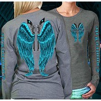 Country Life Outfitters Wings Guns Vintage Gray & Blue Long Sleeve Bright T Shirt