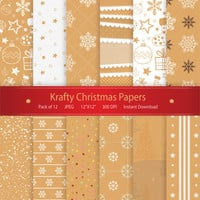 Christmas Digital Paper: Krafty Christmas Papers Printable Design Instant Download Scrapbooking Collection - Xmas Stockings Snowflakes Stars