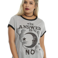 Ouija The Answer Is No Girls Ringer T-Shirt Plus Size