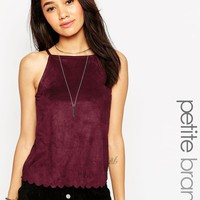 New Look Petite   New Look Petite Suedette High Neck Cami With Scallop Edge at ASOS
