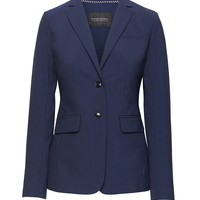 Long and Lean-Fit Plaid Machine Washable Italian Wool Blazer | Banana Republic