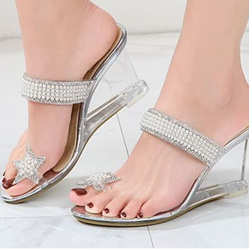 New sexy crystal transparent flip-flop glass rhinestone slope heel slippers shoes