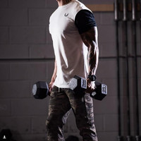 New  Men gym t shirt Short Sleeve Slim Fit T Shirt  T-Shirt Casual Aesthetic Revolution Gym Fitness Sports Muscle cloth