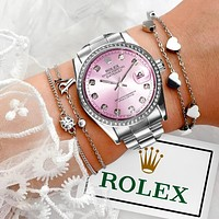 Rolex Women Men Watch Trending Color Watch dial Diamond Watch Pink