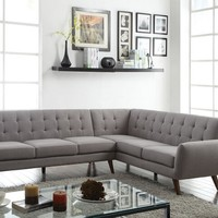 2 pc Essick collection light grey linen fabric upholstered sectional sofa