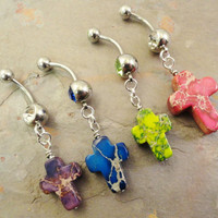 Cross Belly Button Ring You Choose Color Rosary