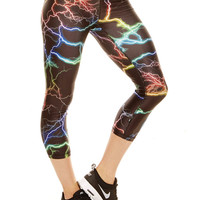 Womens Rainbow Lightning Performance Capri Leggings