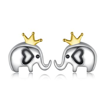 925 Silver Crown Elephant Stud Earrings