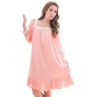 Sexyggs Women's Sweet Floral Lace Sleep Wear Casual Cotton Nightgown