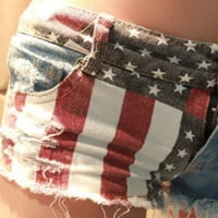 Patriotic American Flag Denim Shorts